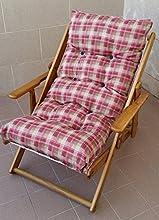 Tumbona relax con 3 posiciones en madera plegable, con cojín acolchado, 100 cm de altura, para salón, cocina, sala de estar o para completar un conjunto de sofá y sillón