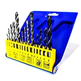 S&R Punte da Trapano Metallo HSS / Muro Cemento / Legno. Set di 15 Punte Professionali in Scatola di Plastica