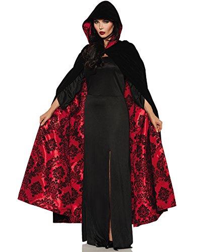 Underwraps Deluxe Black Velvet Red Satin Flocked Vampire Halloween Cape One Size