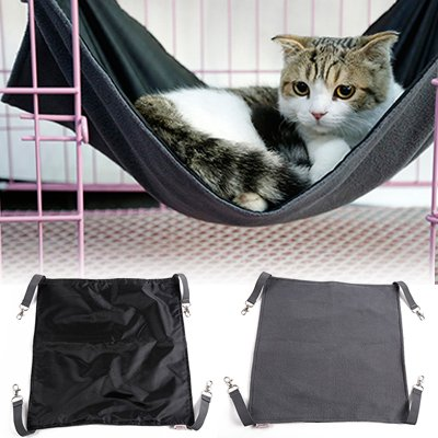 Petneces Hammock Cat Pendant Fabric Oxford Waterproof Bed Cage for Small Animals - 2 in 1 Summer and Winter - Easy to Fix to a Cage
