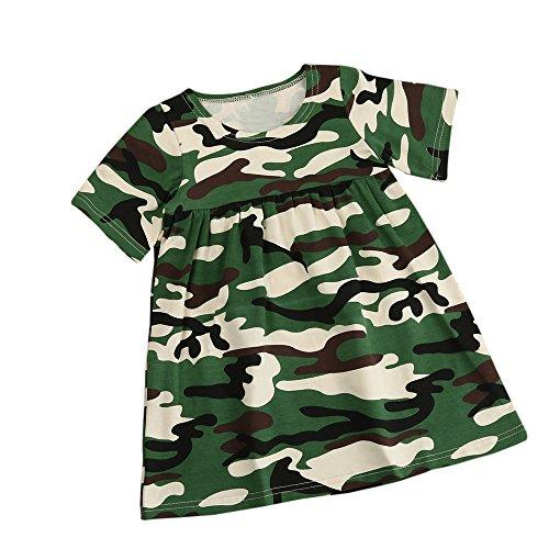 Bekleidung Longra Baby Mädchen Kinder Kleidung Tarnung Kurzschluss Hülsen Kleider Mädchen Sommer Kleid (0-4Jahre) (110CM 3-4 Jahre, Green) - Drei-fold-bildschirm