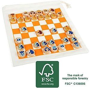 Small Foot 12021 - Ajedrez de Viaje con Certificado FSC 100%, con práctica Bolsa para Transporte y Campo de Juego, para Mujer, también es Posible Jugar a Juegos