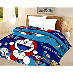 India Get Shopping Kids Quilt Doraemon Blue A.C Blanket Single Bed Size Dohar