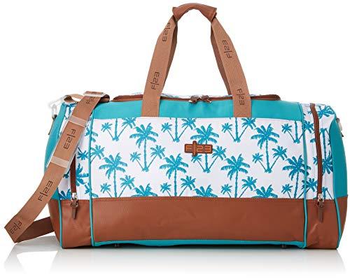 F|23, Urban Survival Reisetasche, 63 x 30 x 34 cm, Inkl. 2 Seitentaschen, 54 Liter, Palm, Weiß/Türkis, 30029-7