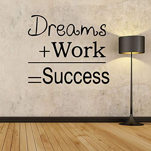 WWYJN Dreams Work Quote Wall Stickers Mural House Decoration for Office Study Room Motivational Sentences Wall Decal Wallstickers Blue L 43cm X 50cm