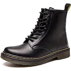 Botas de Mujer Cuero Impermeables Botines Hombre Invierno Zapatos Nieve Piel Forradas Calientes Planas Combate Militares Martin Boots,Negro 38