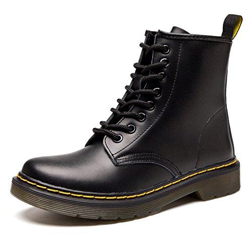Botas de Mujer Cuero Impermeables Botines Hombre Invierno Zapatos Nieve Piel Forradas Calientes Planas Combate Militares Martin Boots,Negro 40