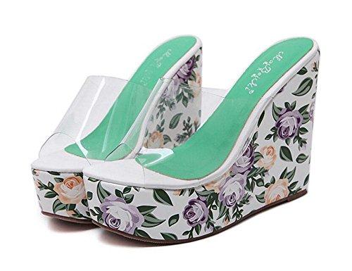 GLTER Femmes Pompes Eté Nouveau Transparent Verre Glue Bohême Style Flor Slope Pantoufles Talon Chaussures Sandales Outdoor Green