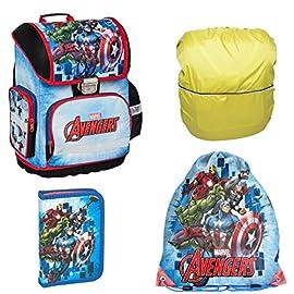 Avengers-Marvel-Schulranzen-Set-4-TLG-fr-Jungen-1-Klasse-Tornister-Schulrucksack-Schultasche-super-leicht-ergonomisch-und-anatomisch-inkl-Sticker-Avengers-und-Regenschutz