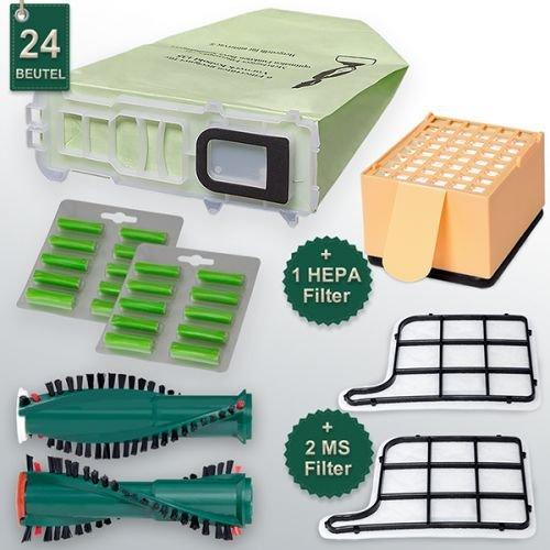49-tlg Set passt für Vorwerk Kobold 135 mit Vorwerk Elektrobürste EB 351 Staubsaugerbeutel Filtertüten Papierbeutel Ersatzbürsten Duft Filterset Hepa-Filter (Kobold Passt)