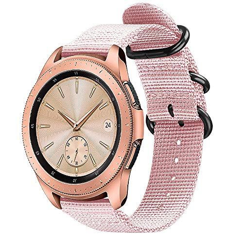 FINTIE Bracelet Compatible avec Samsung Galaxy Watch 42mm / Huawei Watch Active 2 / Gear Sport/Gear S2 Classic Montre Connectée - Bande de Remplacement Ajustable en Nylon Tissé, Rose