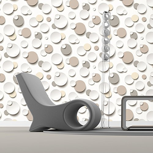 Muriva Just Like It Circles Polka Dot Spots White Textured Designer  Wallpaper (Brown Beige White J63407)