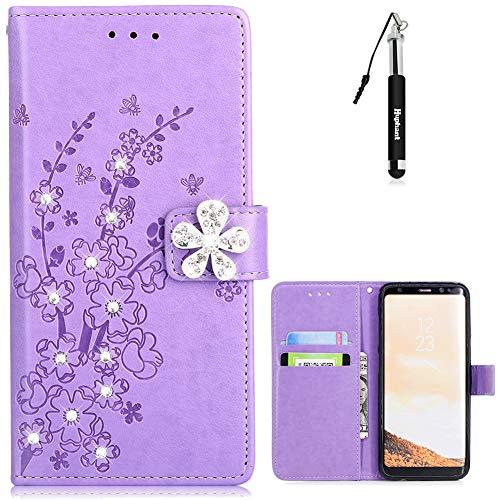 Samsung S8 Hülle, Samsung Galaxy S8 Handy Hülle Leder Tasche Glitzer Strass Huphant Flip Schutzhülle Wallet Case für Samsung Galaxy S8 Stand Kartenfächer -Lila