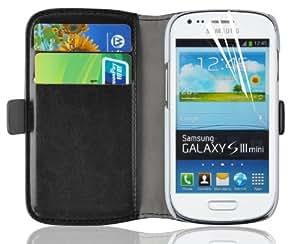 JAMMYLIZARD | Luxuriös Wallet Ledertasche Hülle für Samsung Galaxy S3 Mini, SCHWARZ