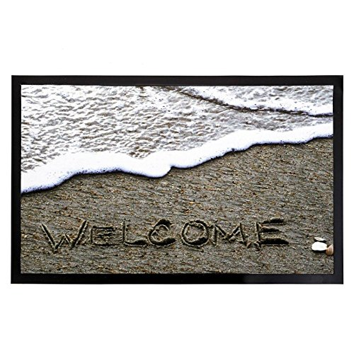 Felpudos Originales  gris-blanco Welcome playa de poliester /