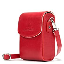 MegaGear MG1212 Canon PowerShot S120, Sony Cyber-shot DSC-RX100V, DSC-RX100IV, DSC-RX100III, DSC-RX100II Leather Camera Case with Strap - Red