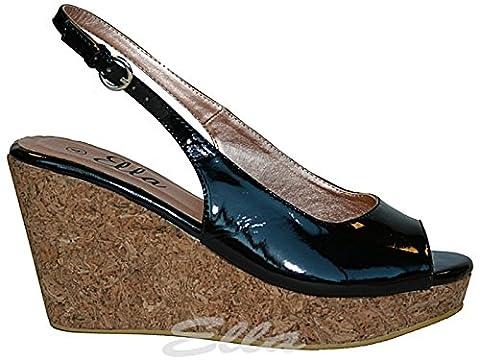 Foster Footwear , Talons compensés femme - noir - noir verni,