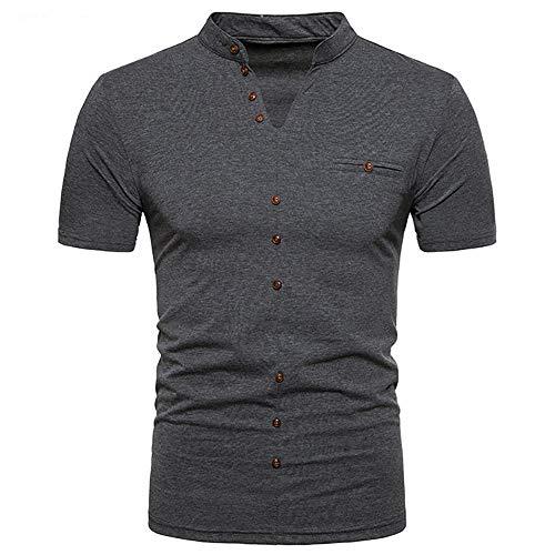 ⚡Herren Tops, Sumeiwilly Sommer Polo Shirt Kurzarm V-Ausschnitt Sweatshirt Poloshirt Kurzarmshirt Sportshirt T-Shirt Freizeit Hemd Slim Fit Einfarbige Casual Top Polohemd