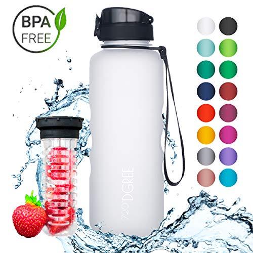 720°DGREE Trinkflasche uberBottle - 1,5 Liter, 1500ml, Weiß, Weiss   Neuartige Tritan Wasser-Flasche   Water Bottle BPA Frei   Ideale Sportflasche für Kinder, Fitness, Fahrrad, Sport, Fussball