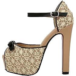 2014 Women High Heel-Platz Platform Pump Schuhe Big Size Spitze-Frauen Pumps Sommer (37, beige)