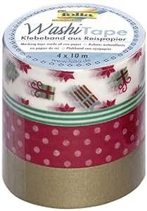 """Folia 26408 Set de 4 rouleaux de ruban adhésif décoratif """"Washi Tape"""" spécial Noël"""