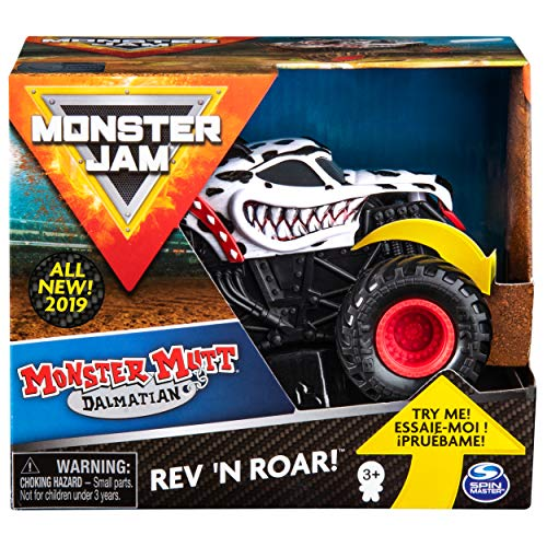 Monster Jam 6053252 Jam-6053252-Original Mutt Dalmatian Rev 'N Roar Monster Truck mit Soundeffekt, Maßstab 1:43, Multicolour - Monster Kinder Jam