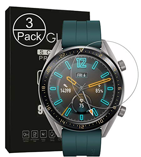 Seama Huawei Watch GT Active Panzerglas Schutzfolie[3 Stück], Premium Hartglas Bildschirmschutz für Huawei Watch GT Active mit Einer Härte von 9H & Einfacher Anbringung