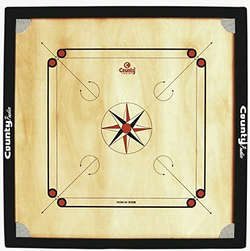 "National Enterprises County {{{Glossy Finish }}} Cut Pocket Full Size(Large) 32"" inch Carrom Board ( Striker, Powder & Wooden Carrom Coins) Free of Cost 81.28Cm"