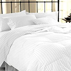Avi Duvet Cover - King Size - Premium Cotton - Duvet / Quilt / Comforter Cover- 91 X 101 Inches (White)