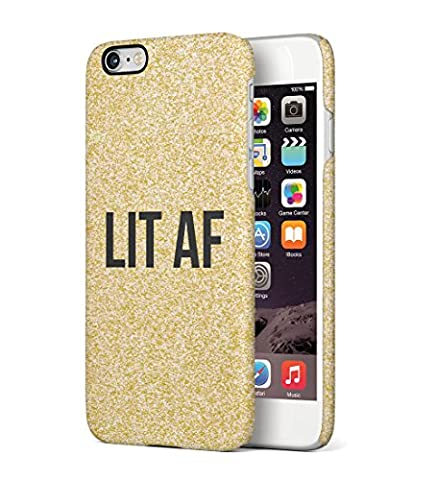 Lit Af Golden Glitter Print Durable Hard Plastic Snap On Phone Case Cover Shell For iPhone 6 Plus / iPhone 6s Plus Coque Housse Etui