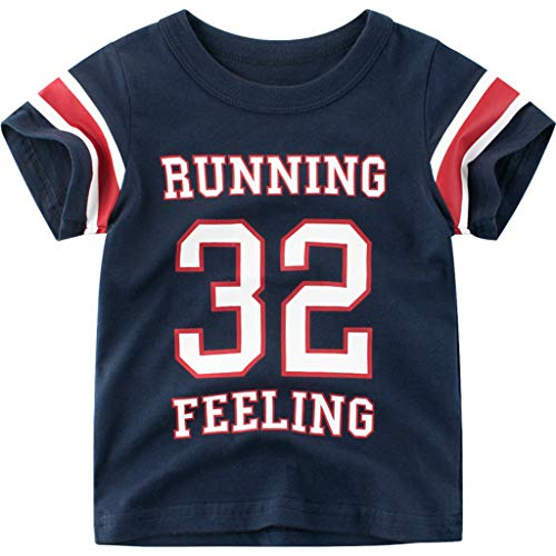 Yanhoo Neugeborenes Kind Baby Boy Slip Drucken T-Shirt Tops Basic Shirt Kleidung Sommer Kurzarm Cartoon Buchstabe für Kinder Running Feeling T-Shirt mit ()