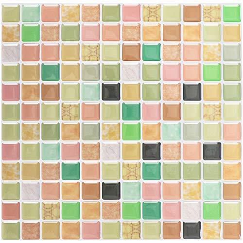 aufkleber Mosaik Bad Fliesenfolie Küche Selbstklebende 3D Mosaik Fliesen Sticker bunt, Wasserdicht Fliesensticker Aufkleber Fliesen Folie für Badezimmer Wohnzimmer, 4er Pack ()