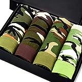 LanLan 4 Unids/Caja, Calzoncillos de Hombres, Ropa Interior Estampado de Camuflaje De Fibra De Bambú Respirable, Calzoncillos Militares Verde Sexy Boxeadores de Moda