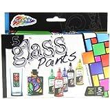 Grafix Set Of 5 Glass Paints - Make & Design Your Own Glass Art !