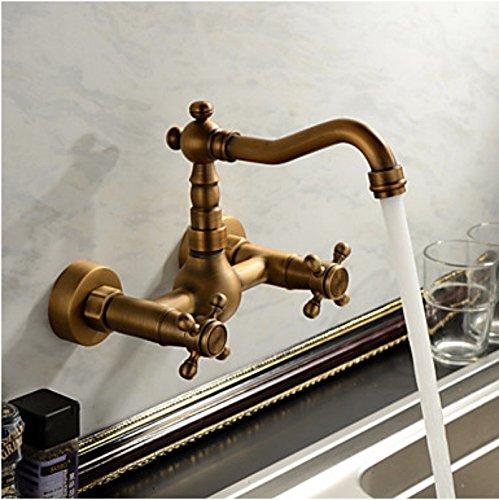 YUCH Wand-Armaturen für Badezimmer Eitelkeiten kontinentalen Wash Basin Wasserhahn warmes und kaltes Kupfer Antik - 2 Waschbecken Badezimmer-eitelkeit