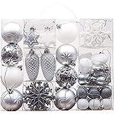 Valery Madelyn 50 Stücke 3-8cm Weihnachtskugeln Kunststoff Christbaumkugeln Set mit Weiß Silber mit Aufhänger Weihnachtsbaumschmuck Weihnachten Dekoration