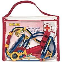 """Meine Conni-Arzttasche: Conni-Bilderbuch """"Conni geht zum Arzt"""" in lustiger Tasche mit Rezeptblock, Ausmalbogen, Spiegel, Fieberthermometer, Spritze, Reflexhämmerchen und Stethoskop"""
