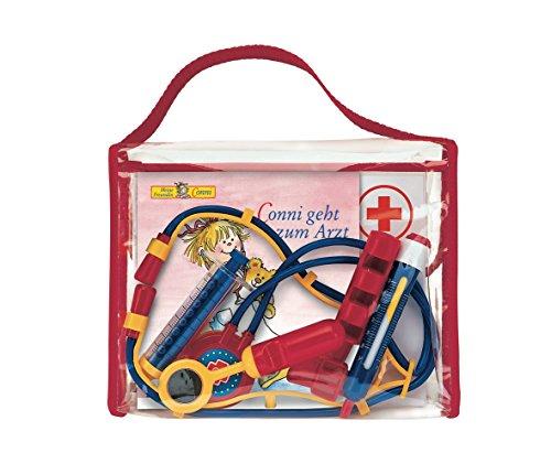 Preisvergleich Produktbild Meine Conni-Arzttasche: Conni-Bilderbuch Conni geht zum Arzt in lustiger Tasche mit Rezeptblock, Ausmalbogen, Spiegel, Fieberthermometer, Spritze, Reflexhämmerchen und Stethoskop