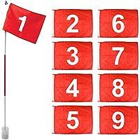 On Par Set Banderas y Varillas de Golf Color Blanco (Set de 9, Bandera números 1-9)