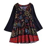 IZHH Damen Vintage Shirt, Casual National Style Plus GrößE Lose Baumwolle Leinen Lange Oberteile Hemd Bluse Tunika Pullover Langen Saum Tee (Mehrfarbig,XXXXXL)