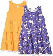 Marca Amazon - Spotted Zebra – Vestidos de niveles de punto sin mangas para niña (2 unidades)
