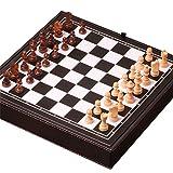 EVERAIE Schachbrett, Magnetische Reise Schachspiel 3 In 1 Schach Dame Backgammon Set für Erwachsene Kinder Folding Portable Schachspiel Traditionelles Schachspiel Schachspiel Klappbrett