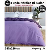ADP Home - Funda nórdica Bi-Color, Calidad 144 Hilos, 10 combinaciones de colores cama de 150 cm - Púrpura y Lila