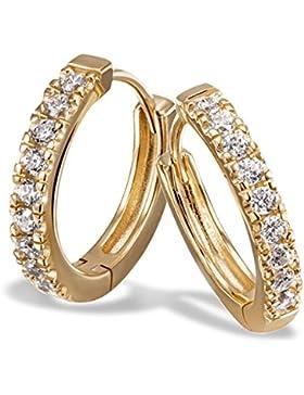 Goldmaid Damen-Creolen Memoire 925 Sterlingsilber vergoldet 18 weiße Zirkonia Ohrringe Schmuck