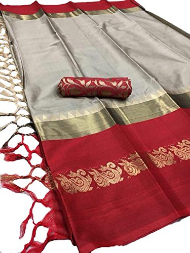 Fashionesta Cotton Silk Saree(AURAGRYRED_Red_Free Size)