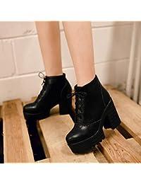 &ZHOU Botas otoño y del invierno botas cortas mujeres adultas 'Martin botas botas Knight A3-5 , black , 36