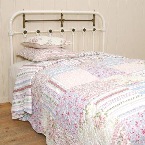 Q004.060 Clayre & Eef Tagesdecke Quilt Plaid OSLO weiß/blau/rosa 180x260 cm