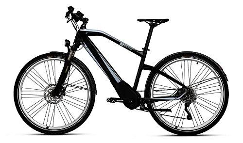 BMW Bicicleta eléctrica híbrida de aluminio para bicicleta eléctrica, color negro y plateado, talla M