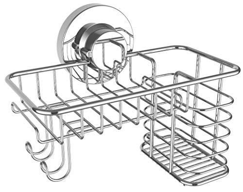 Seifenschale Halter Saugnapf Combo Kraftvolles Vakuum oder Klebesystem für Schwammhalter Badezimmer Organizer für Rasierer Zahnbürsten Kamm rostfrei Edelstahl Seife Dusche oder Spüle Caddy -