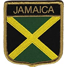 """REGGAE & RASTA Jamaica Flag Bandera Crest PATCH PARCHE Iron-On / Sew-On Officially Licensed Artwork, 3"""" x 3"""" EMBROIDERED BORDADO Patch"""